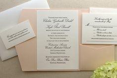 The Orchid Suite - Classic Letterpress Wedding Invitation Suite, Slate Grey, Blush Shimmer pocket enclosure, Formal, Pink, Simple
