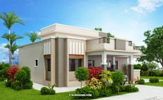 This elevated four bedroom with three toilet and baths home design has a floor area of 177 square meters. The minimum lot area would be 300 square meters to accommodate this modern house design. One Storey House, 2 Storey House Design, Bungalow House Design, House Front Design, Small House Design, Cool House Designs, Modern House Design, Home Design, Design Ideas