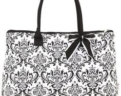 Black and White Damask Tote with FREE Monogram - Edit Listing - Etsy