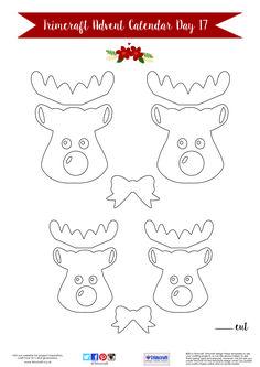 Trimcraft Advent Calendar Day 17- Free Printable Reindeer Tag Template