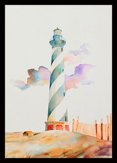 Interesting to see a Lighthouse protrayed in pastel colors. *by Ivey Hayes