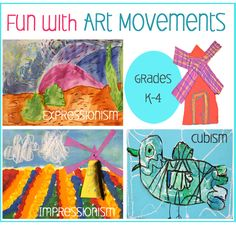 Art Movements lesson Plans: Van Gogh, Monet and Picasso- Fun with Art Movements introduces Impressionism, Expressionism and Cubism to young children with three easy, colorful art lessons.