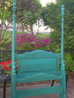 turquoise painted antique bed - love the color