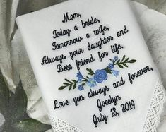 Embroidered Wedding Handkerchiefs, Fast Turnaround by elegantmonogramming Mother Of Bride Gifts, Father Of The Bride, Wedding Ties, Wedding Bride, Wedding Stuff, Wedding Verses, Wedding Handkerchief, Bridal Gifts, Personalized Wedding