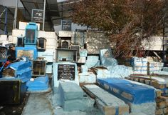 The Tombs of the Kabbalists (Kabbalah being a form of Jewish mysticism) are  contained in the cemetery, with notables having their tomb painted blue -  Safed