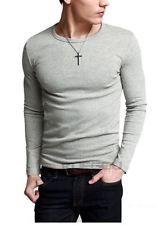 NWT Match KG Mens Crewneck Long Sleeve Basic T Shirts Series LIGHT HEATHER GRAY