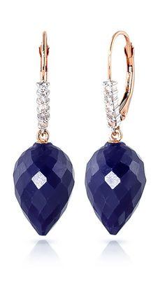 Sapphire and Diamond Drop Earrings 25.8ctw in 9ct Rose Gold #Gemstones #Jewellery #GemstoneJewellery