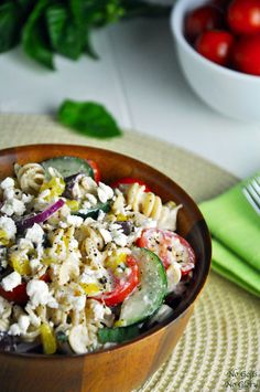 "Greek Summer Pasta Salad | not Greek, exactly, but definitely ""Greek-ish"". Looks good to me!"
