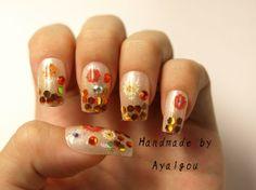 Nails nail art winter festive holiday shiny bling gold by Aya1gou, $18.00
