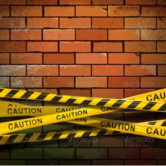 Caution Ribbons on Brick Wall