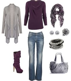 Plum and grey! Like everything but the boots!
