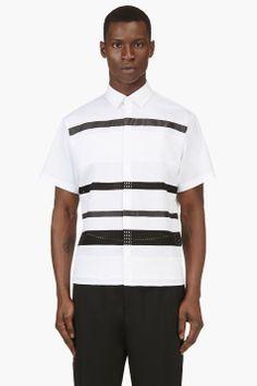 NEIL BARRETT White Black Short Sleeve Multi Stripe Shirt