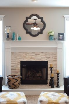 Chimney decoration ideas modern mantel decor brilliant fireplace in addition to 9 from decorating home chi Modern Fireplace Decor, Stone Fireplace Designs, Stacked Stone Fireplaces, Fireplace Redo, Fireplace Remodel, Fireplace Surrounds, Fireplace Ideas, Modern Fireplaces, Simple Fireplace