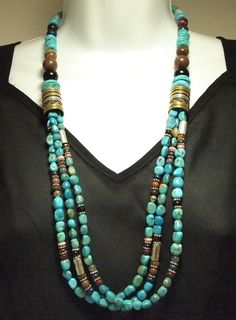 Navajo Turquoise Multi-Stone 3-Strand Necklace - Tommy Singer picclick.com