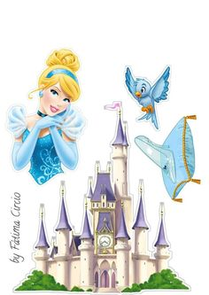 Disney Princess Room, Cinderella Disney, Cinderella Party, Frozen Paper Dolls, Disney Paper Dolls, Frozen Cake Topper, Diy Cake Topper, Princess Cupcake Toppers, Birthday Cake Toppers