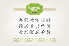 Hand drawn gardening icons by miumiu on Creative Market
