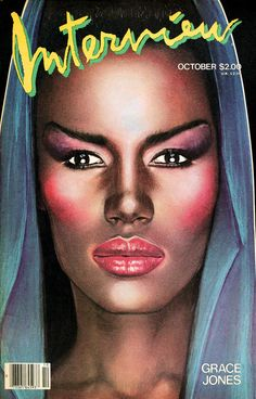 Grace Jones on the cover of Interview Magazine (as illustrated by Richard Bernstein, who also did her first three album covers.
