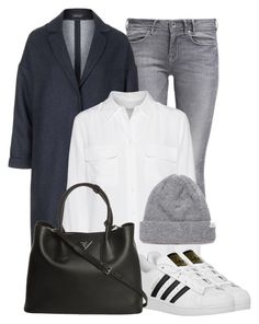 """Duster Jackets"" by juliasab ❤ liked on Polyvore featuring GUESS, Topshop, Equipment, adidas Originals and Prada"