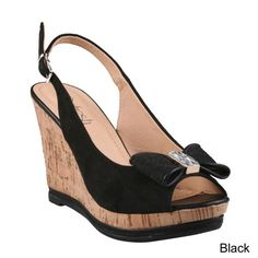 726a990ab12 Refresh NOVA-06 Women s Peep Toe Sling-Back Cork Platform Wedge Bow Sandals
