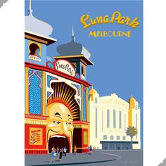 Melbourne Luna Park Australia by Andy Tuohy, the perfect gift for Explore more unique gifts in our curated marketplace. Melbourne Art, Melbourne Australia, Posters Australia, Vintage Travel Posters, Retro Posters, City Branding, Abstract City, Art Deco Pattern, Poster