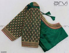 New Saree Blouse Designs, Patch Work Blouse Designs, Hand Work Blouse Design, Simple Blouse Designs, Stylish Blouse Design, Bridal Blouse Designs, Designer Blouse Patterns, Sleeve Designs, Green Blouse