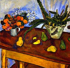Still Life With Pears, Flowers And Cactus Artwork By Mikhail Fedorovich Larionov Oil Painting & Art Prints On Canvas For Sale Centre Pompidou Paris, Local Art Galleries, Avantgarde, Renaissance Artists, Cactus Art, Oil Painting Reproductions, Art Abstrait, Russian Art, Custom Art
