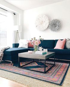 Living room refresh with navy sectional and pink accents. by: christine. Blue And Pink Living Room, Blue Family Rooms, Navy Living Rooms, Simple Living Room Decor, Home Living Room, Cozy Living, Family Room Sectional, Blue Sectional, Blue Lounge
