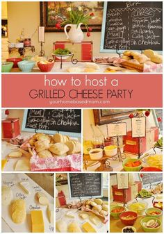 Let your guests do the cooking by putting together their own fun and crazy grilled cheese sandwich combination for a fun grilled cheese party.