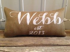 Burlap Pillow -  Family Name pillow, wedding date pillow, wedding/anniversary gift - Custom Made to Order on Etsy, $32.00