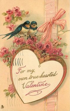 For my Own True Hearted Valentine - Two Birds Animals Postcard Valentine Images, My Funny Valentine, Vintage Valentine Cards, Saint Valentine, Vintage Greeting Cards, Vintage Holiday, Valentine Crafts, Valentine Day Cards, Vintage Postcards