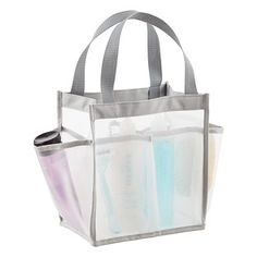 This water-friendly Carry All Tote offers a new take on the shower caddy. The mesh fabric allows water to easily drain through and the six roomy pockets accommodate shampoo, conditioner and other essentials. It's perfect as a dorm shower caddy or beach tote.