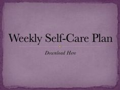 Weekly Self Care Plan Image
