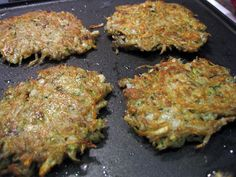 Healthy Dinner Idea: Zucchini Latkes. I made these and they are very good. you can sprinkle with Parmesan and add green peppers as well.