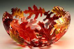 Oak Bowl by, Dela Kazine Art Glass Studio