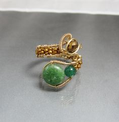 Handmade Gemstone Bead Adjustable Copper Wire Ring. $27.00, via Etsy.
