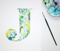 Watercolour Letter J, Hand Painted Botanical Wall Art, Nursery Decor, Cactus Print, Succulents, Leaves, Personalised Art Print