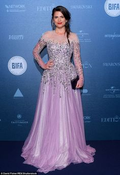 Inner princess: Hayley Atwell put on a show-stopping display in a stunning lilac sequinned...