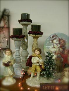 Victorian Vintage Christmas (holiday figurines, candlesticks)    Heidi's Cottage, Dunellen NJ heidiscottage.com for more info
