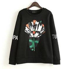 Women Black Hoodies,casual carrot print, quite modern design right?