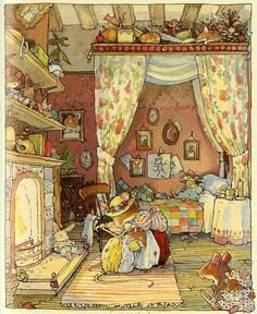Brambly Hedge is a series of illustrated children's books by Jill Barklem, based around a community of self-sufficient mice who live together in the tranquil surroundings of the English countryside. Description from pinterest.com. I searched for this on bing.com/images