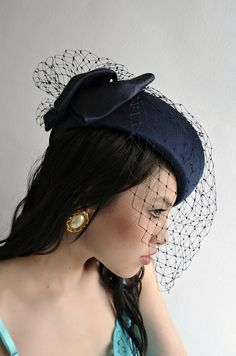 MIDNIGHT Blue Vintage 80s Cocktail Party Hat Veiled by empressjade Fascinator  Hats 1be34314be21