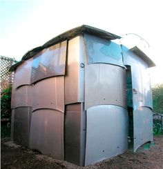 This structure is as much a visual curiosity as it is an actual, functioning shed. It's made entirely from reclaimed car parts, like hoods, ...