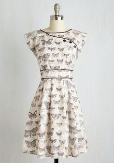 Topiary Tour Dress in Butterflies. Much like the sculpted shrubs you admire on the mansions expansive grounds, this marbled beige dress is sure to impress! #white #modcloth