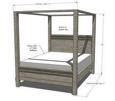 dimensions for farmhouse bed frame with canopy woodworking plans Farmhouse Bedding, Bed, How To Make Bed, Bed Frame Plans, Bed Plans, Canopy Bed Frame, Bedroom Styles, Farmhouse Canopy Beds, Diy King Bed Frame