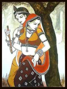 Krishna Print featuring the painting Radha Krishna 3 by Alpana Lele