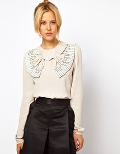 ASOS Blouse With Oversized Embroidered Bow