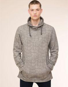 Pull&Bear - man - new products - print funnel collar sweatshirt - pale marl - 09592571-I2015