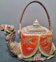 Japanese Moriage Satsuma Camel Tea Pot