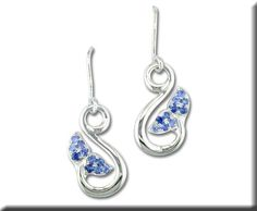 Sterling Silver Graduated Blue Sapphire Whale Tail Earring