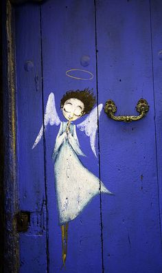 Angels descending, bring from above, echoes of mercy, whispers of love. ~Fanny J. Crosby. Wonderful reminder in this Angel painting on old blue door. #God_wink #Art #Home